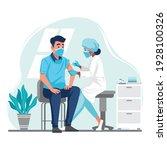 doctor injecting coronavirus... | Shutterstock .eps vector #1928100326