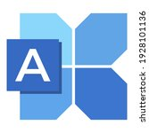 icon font a with blue shape...