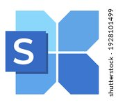 icon font s with blue shape...