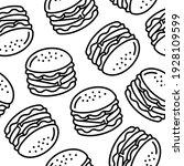 line art cheese burger seamless ... | Shutterstock .eps vector #1928109599