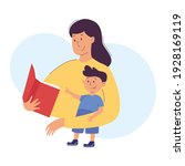 mother reads a book to her boy... | Shutterstock .eps vector #1928169119