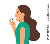 woman using mouth spray for... | Shutterstock .eps vector #1928174123