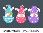 cute gnomes wearing bunny ears... | Shutterstock .eps vector #1928181329