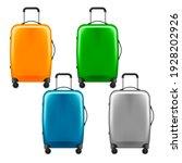 modern plastic wheeled suitcase ... | Shutterstock .eps vector #1928202926