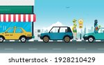 a woman is using a parking... | Shutterstock .eps vector #1928210429
