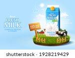 3d milk ad template for product ... | Shutterstock .eps vector #1928219429