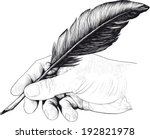 vintage drawing of hand with a... | Shutterstock . vector #192821978