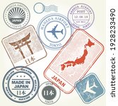 travel stamps set japan and... | Shutterstock .eps vector #1928233490