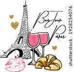 bonjour paris . typography... | Shutterstock .eps vector #1928254076