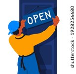 an employee of a store or... | Shutterstock .eps vector #1928256680