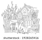 spring flowers coloring pages.... | Shutterstock .eps vector #1928265416