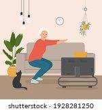 elderly woman do exercises at... | Shutterstock .eps vector #1928281250