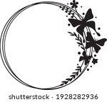 butterfly circle frame vector... | Shutterstock .eps vector #1928282936
