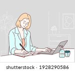 business woman using laptop and ... | Shutterstock .eps vector #1928290586