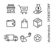simple set of online shop... | Shutterstock .eps vector #1928307389