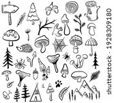 vector mushrooms and forest... | Shutterstock .eps vector #1928309180