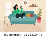 young couple doing video...   Shutterstock .eps vector #1928310446