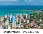 Small photo of Joao Pessoa, State of Paraiba, Brazil on March 19, 2009. Partial view of the city showing buildings, the sea and the tip of Cabo Branco.