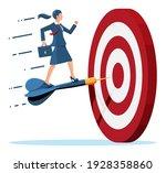 businesswoman aim arrow to... | Shutterstock .eps vector #1928358860