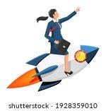 successful businesswoman flying ...   Shutterstock .eps vector #1928359010
