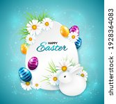 easter greeting card with frame ...   Shutterstock .eps vector #1928364083