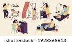 set with different stay home... | Shutterstock .eps vector #1928368613