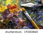 Palette With Paintbrush And...