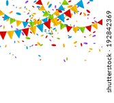party flags with color confetti | Shutterstock .eps vector #192842369