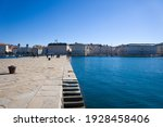 Small photo of Trieste, Italy. February 28, 2021 Trieste, panorama from the Molo Audace of Trieste, in the background Piazza UnitA d'Italia