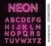 neon pink font vector... | Shutterstock .eps vector #1928492090