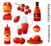 set of tomato food products or... | Shutterstock .eps vector #1928494856