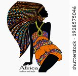 beautiful african woman with... | Shutterstock .eps vector #1928575046