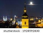 Full Moon Above Prague Panorama