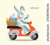 easter bunny on a moped. vector ...   Shutterstock .eps vector #1928598146