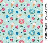 birthday seamless pattern with... | Shutterstock . vector #1928651996