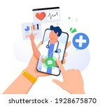 hands holding smartphone with... | Shutterstock .eps vector #1928675870