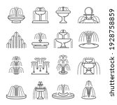 Fountain types thin line icons set isolated on white. Architecture pouring water outline pictograms collection. Waterfall, tiered, classic, cascading, splash, dancing equipment vector element for web.