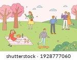 people are doing outdoor... | Shutterstock .eps vector #1928777060