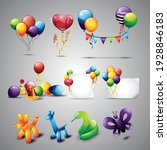 collection of balloons and... | Shutterstock .eps vector #1928846183
