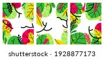 vector set of abstract foliage... | Shutterstock .eps vector #1928877173