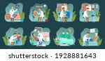 set of scenes on the topic of... | Shutterstock .eps vector #1928881643