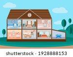 house cut. detailed home... | Shutterstock .eps vector #1928888153
