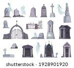 set of cartoon cemetery grave... | Shutterstock .eps vector #1928901920