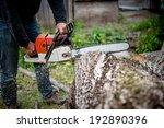 man cutting trees using an... | Shutterstock . vector #192890396
