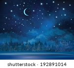 vector night winter scene  sky... | Shutterstock .eps vector #192891014