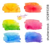 rainbow watercolor stains set | Shutterstock .eps vector #192895358