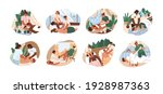 set of people on couches during ... | Shutterstock .eps vector #1928987363