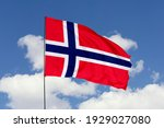 Norway Flag Isolated On Sky...
