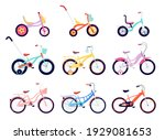 Set Of Kids And Adults Bicycles....