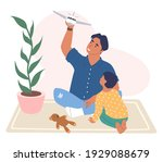 happy father and son playing... | Shutterstock .eps vector #1929088679